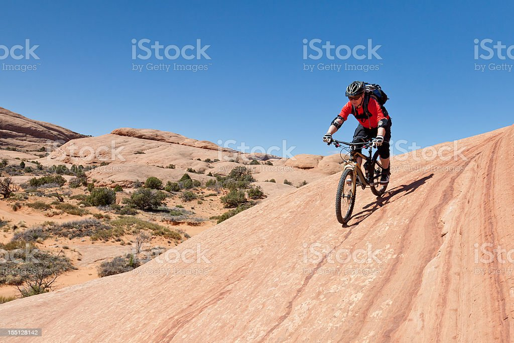 Biking along the lines, Utah stock photo