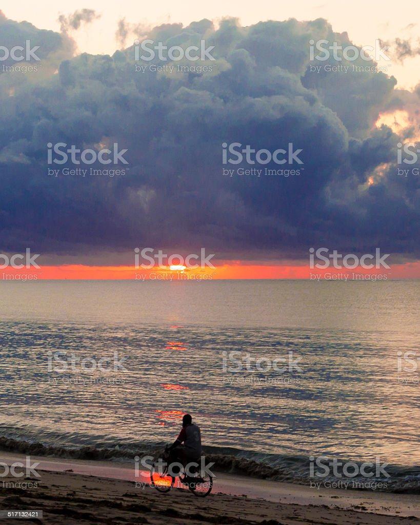 Biking at Sunrise stock photo