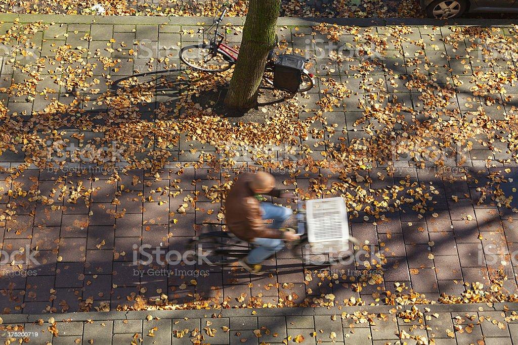 Biking in Autumun, Amsterdam, the Netherlands royalty-free stock photo