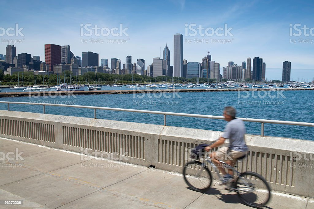 Biking in Chicago royalty-free stock photo