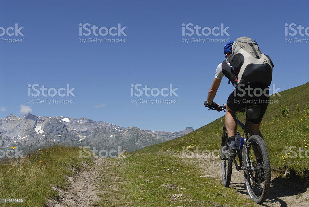 Biking in the Alps royalty-free stock photo
