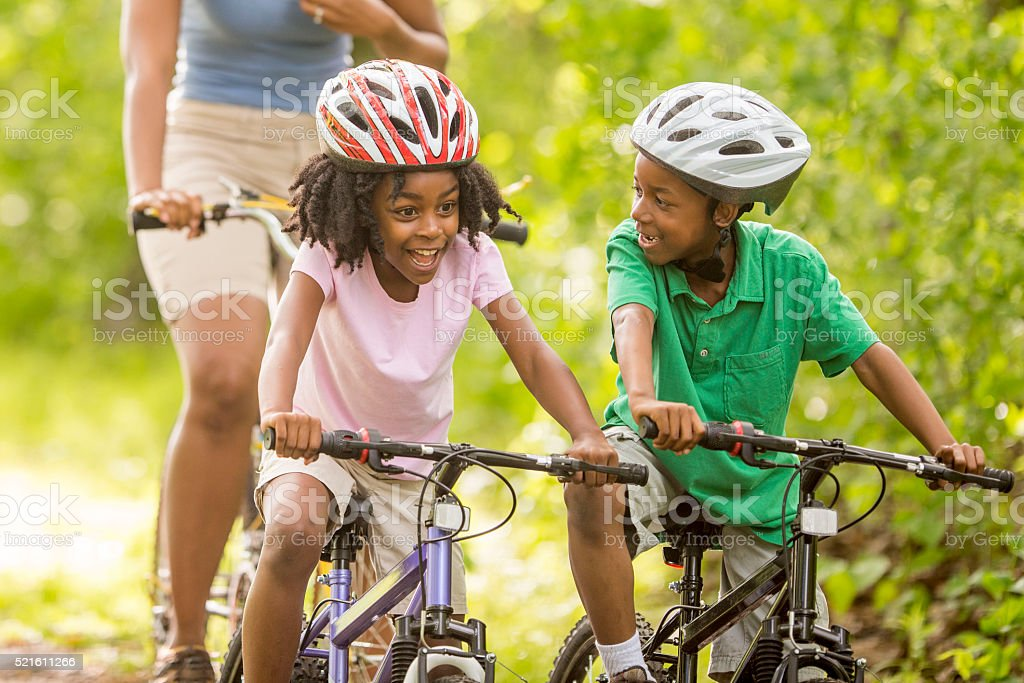 Biking on Mother's Day stock photo