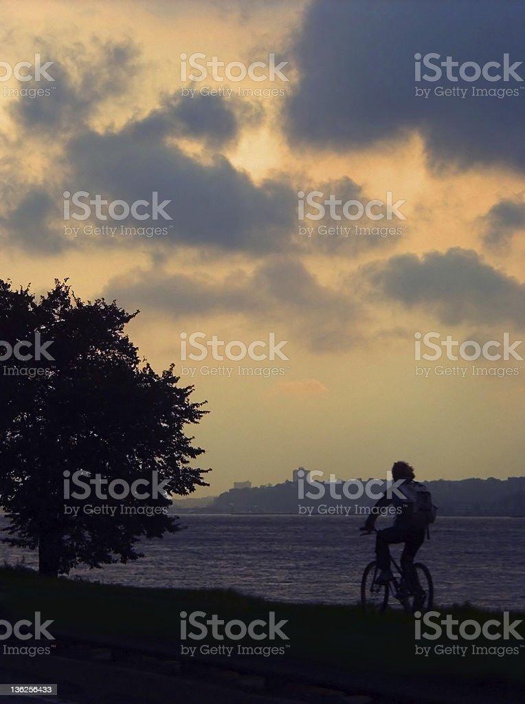 biking on the Hudson royalty-free stock photo