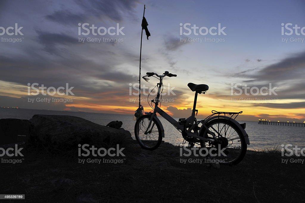 Biking Sunset View stock photo
