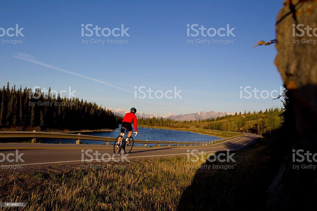 Biking to the Rocky Mountains royalty-free stock photo