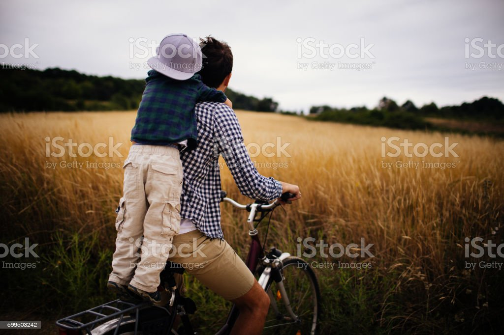 Biking with my dad stock photo