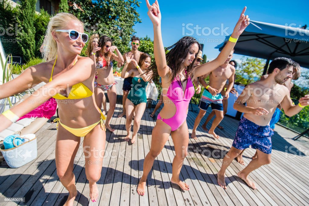 Bikini dance on a patio stock photo