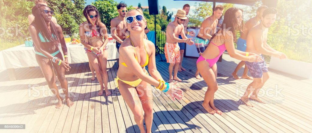 Bikini dance on patio stock photo