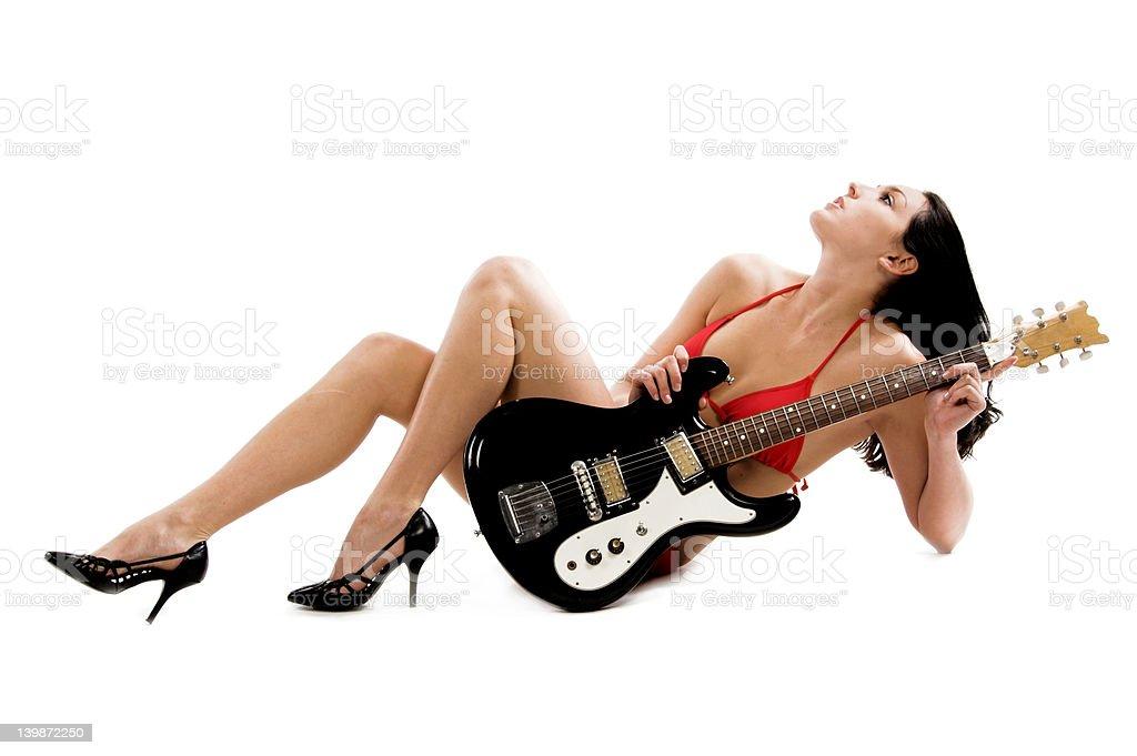 Bikini Guitar royalty-free stock photo