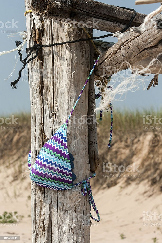 bikini top on a post royalty-free stock photo