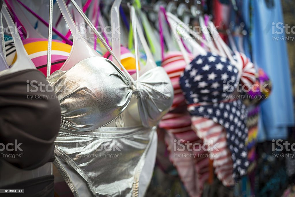 Bikinis in a shop royalty-free stock photo