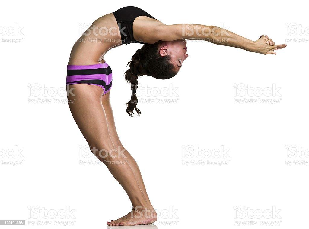 Bikram pose, Back bend compression of spine stock photo