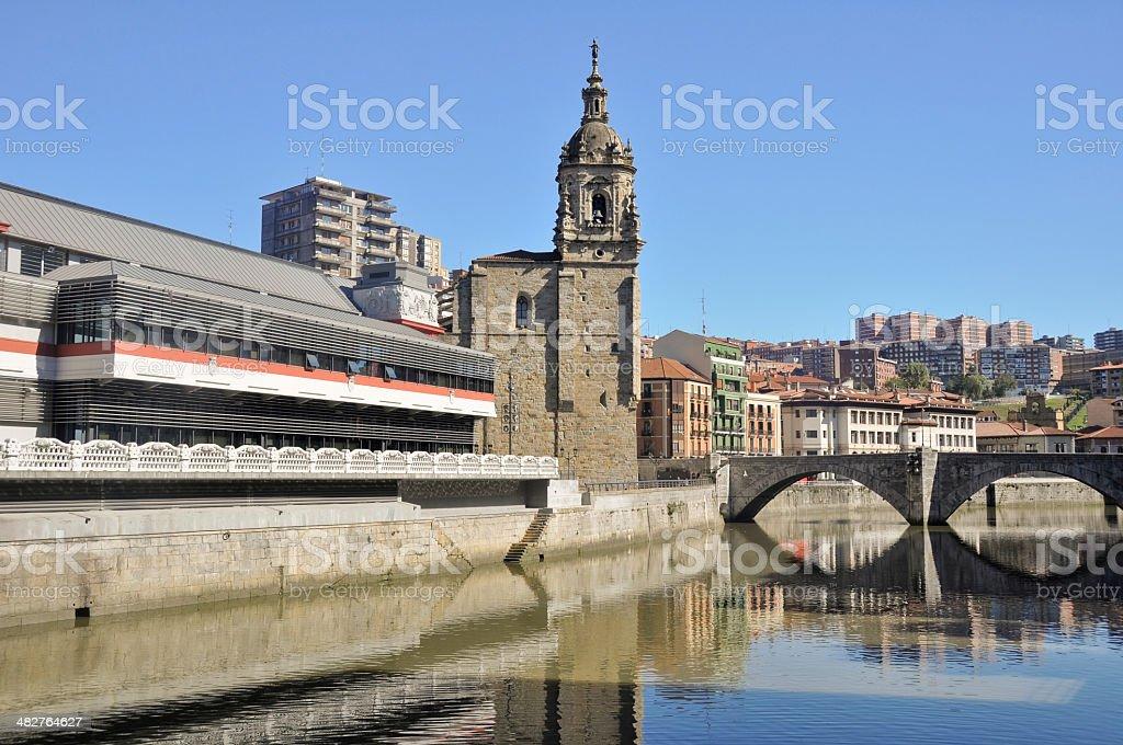 Bilbao, La Ribera market and San Anton bridge stock photo