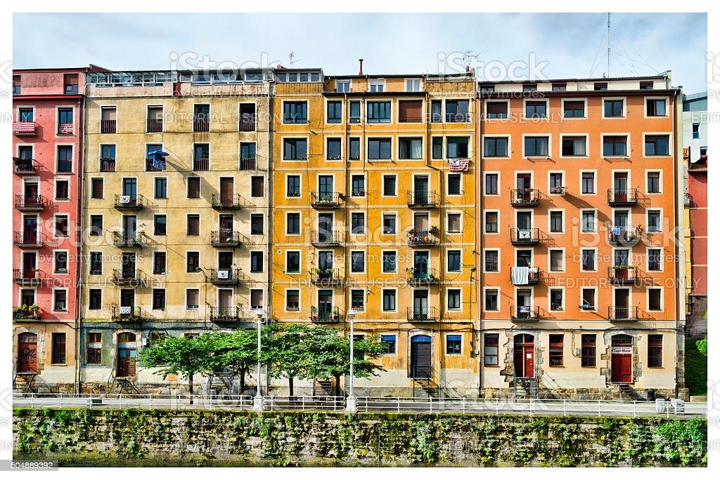 Bilbao Neighbourhood Houses Looking Across Nervión River stock photo