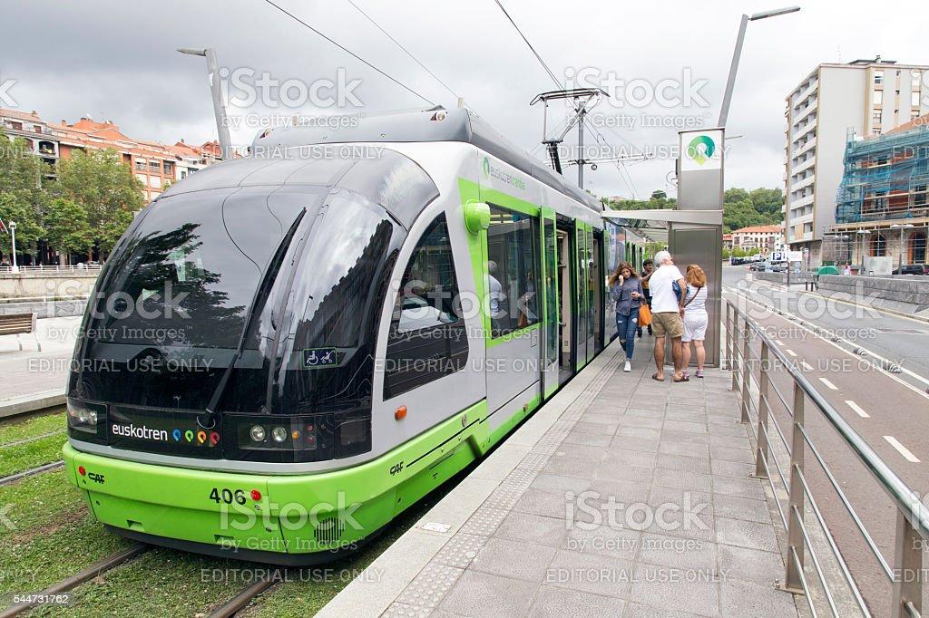 Bilbao tram stopped on Pio Baroja station. stock photo