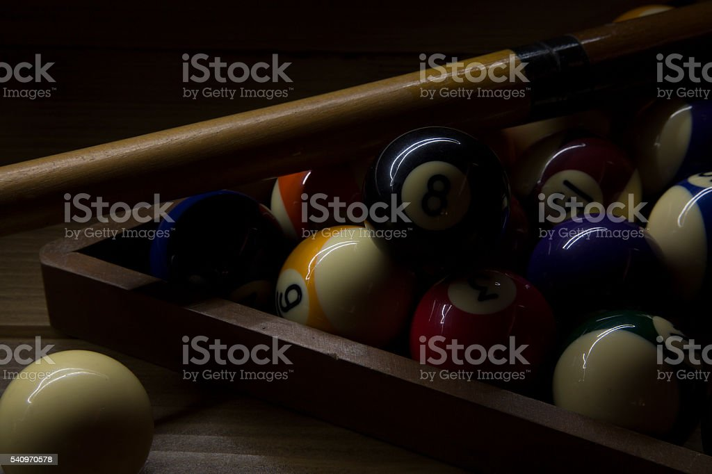 biliard balls in twilight stock photo