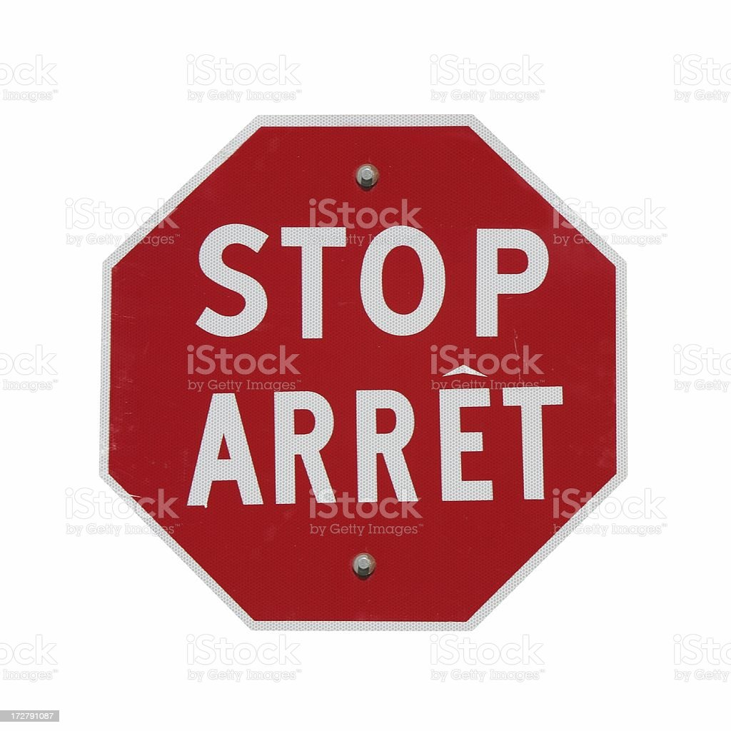 Bilingual Stop Sign royalty-free stock photo