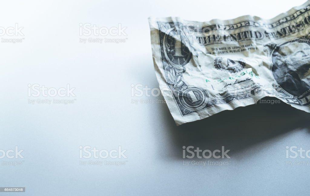 Bill dollar crumpled.financial depreciated. stock photo