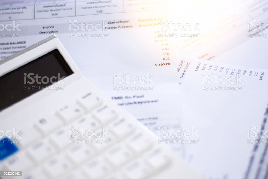 Bill finance and calculator stock photo