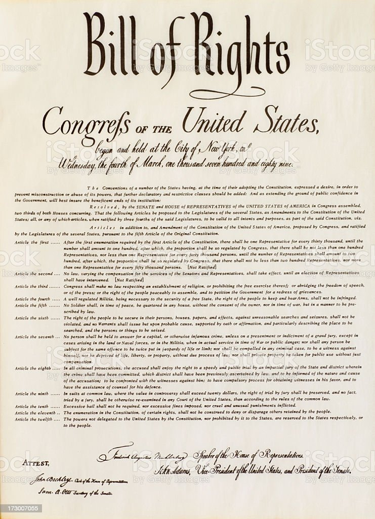 Bill of Rights - Isolated stock photo