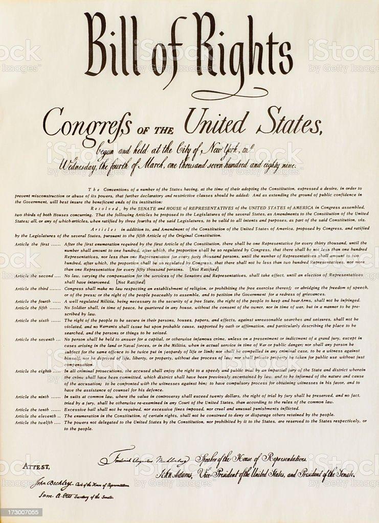 Bill of Rights Document Replica stock photo