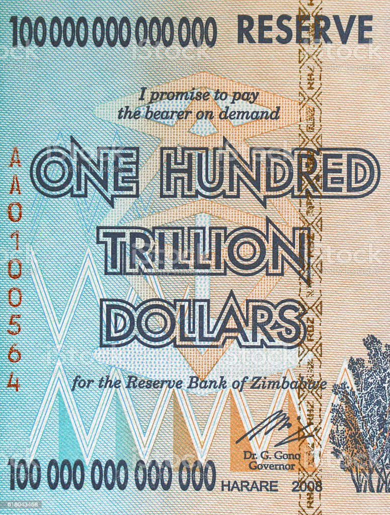 bill of Zimbabwe, with the nominal  one hundred trillion dollars stock photo