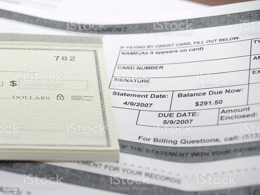 Bill Payment Statement with Check book royalty-free stock photo