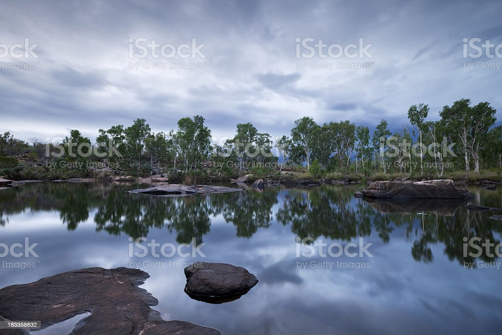 Billabong or small pond at Manning Gorge, Western Australia, dusk royalty-free stock photo
