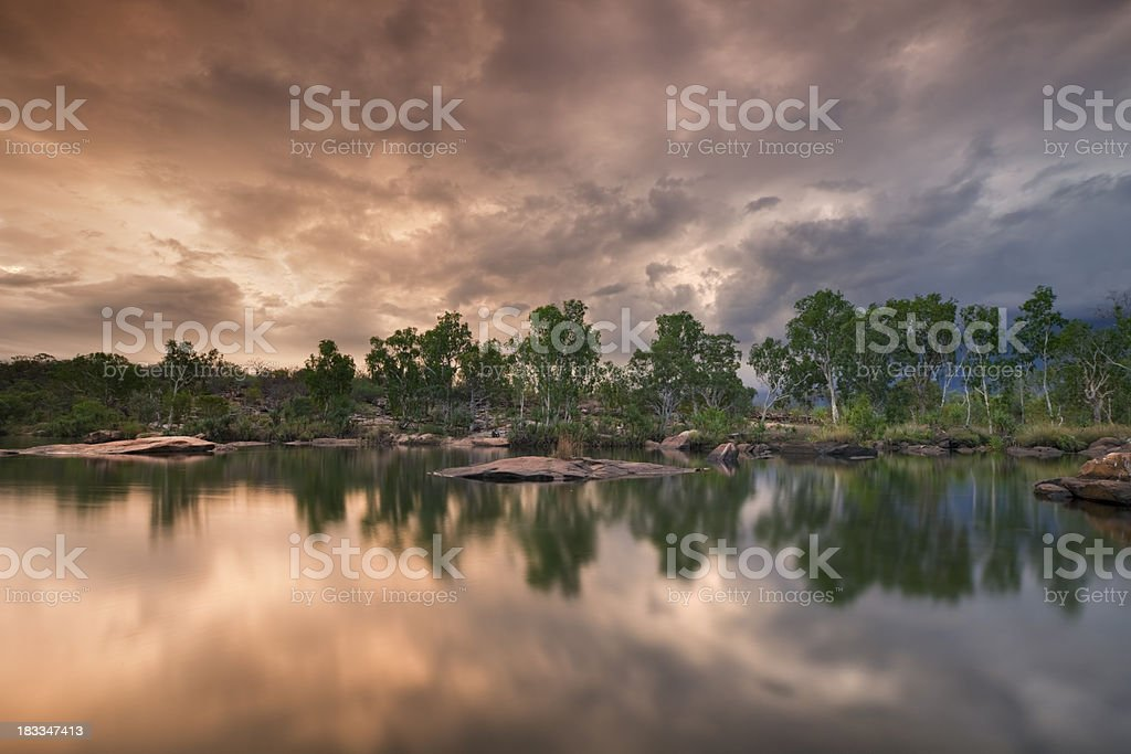 Billabong or small pond at Manning Gorge, Western Australia, sunset royalty-free stock photo