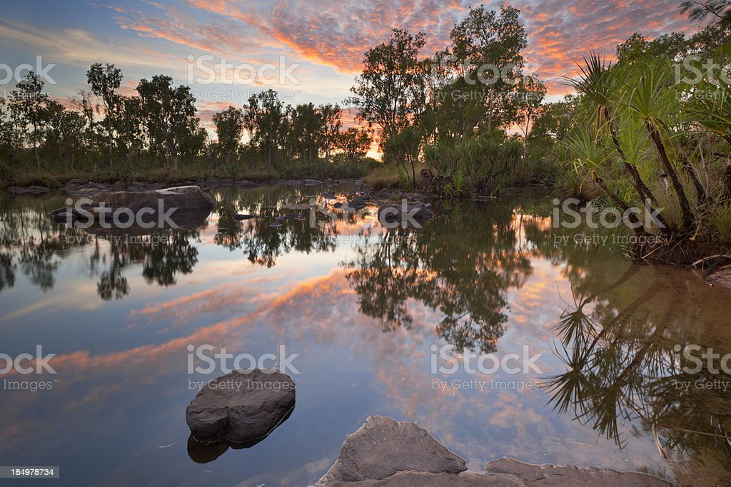 Billabong or small pond at Manning Gorge, Western Australia, sunset stock photo