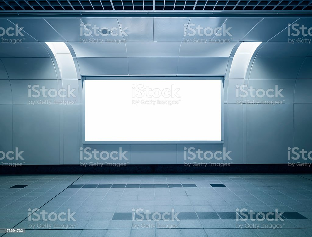 Billboard advertising mocked up in subway station stock photo