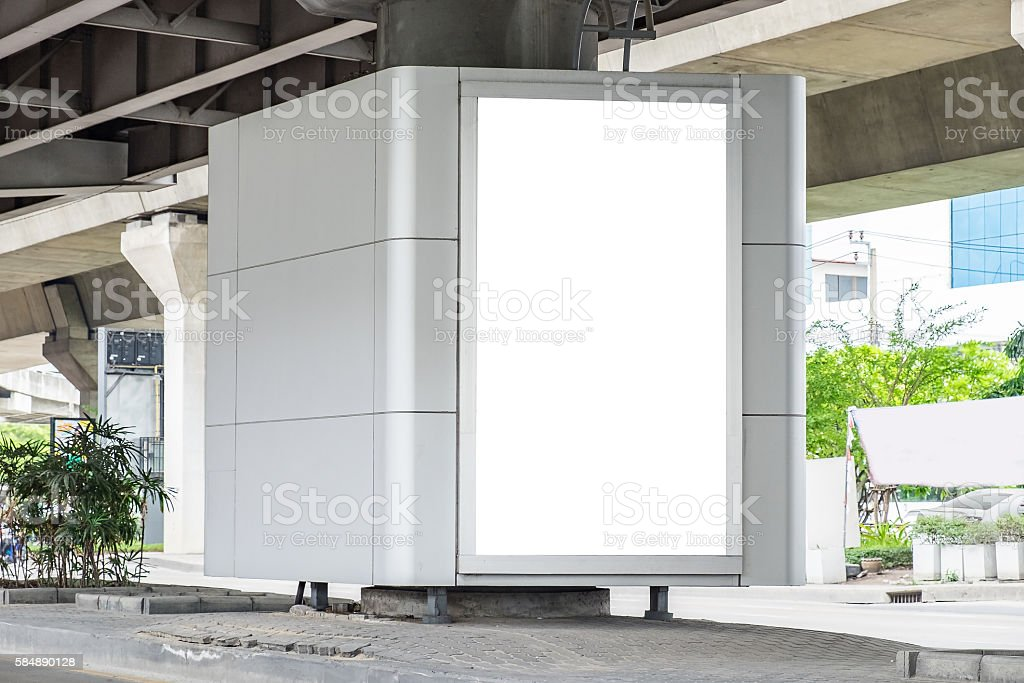 Billboard advertising white blank on road stock photo