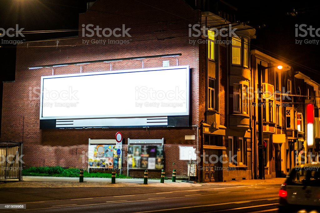 Billboard at night stock photo