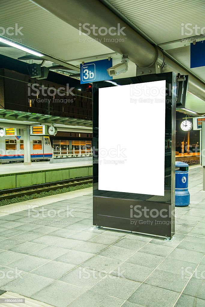 Billboard at station stock photo
