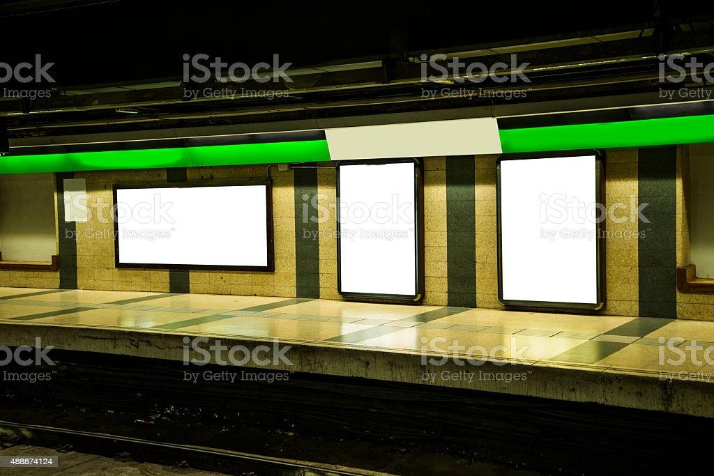 Billboard at subway station stock photo