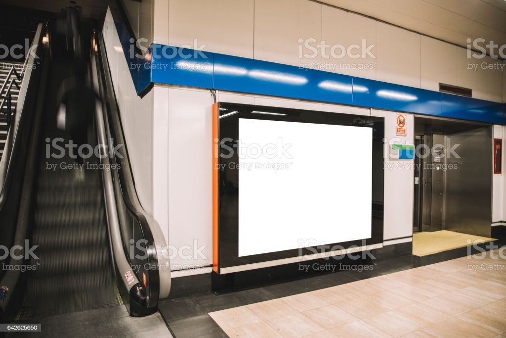 Billboard at underground station stock photo