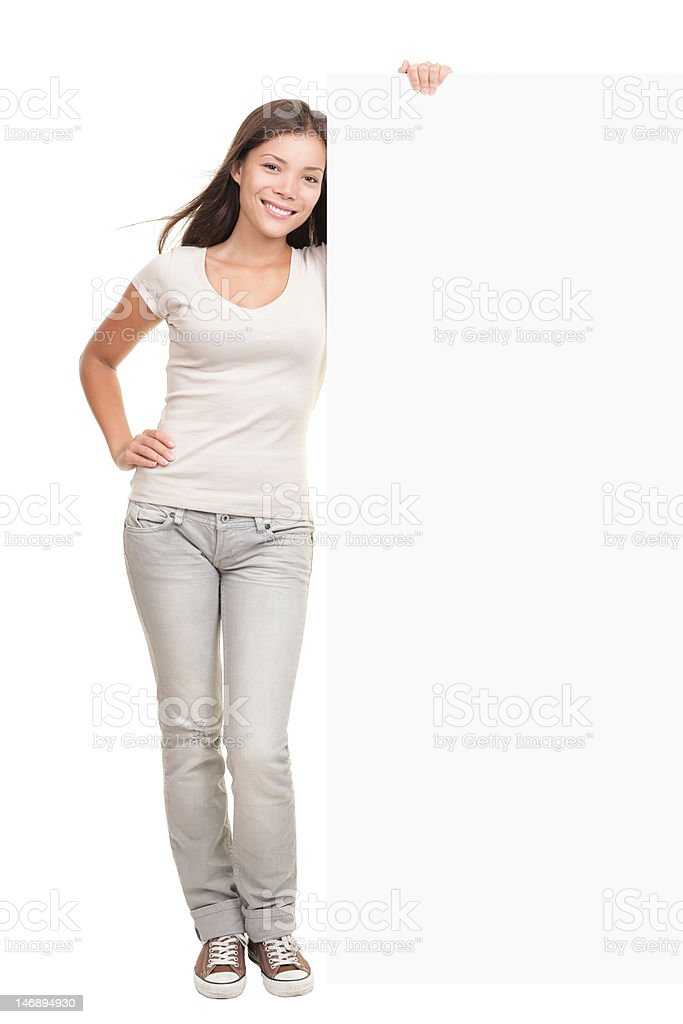 Billboard banner woman standing stock photo