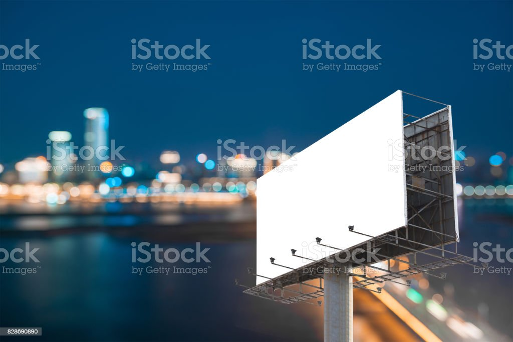 billboard blank for outdoor advertising poster or blank billboard at night time for advertisement. street light stock photo