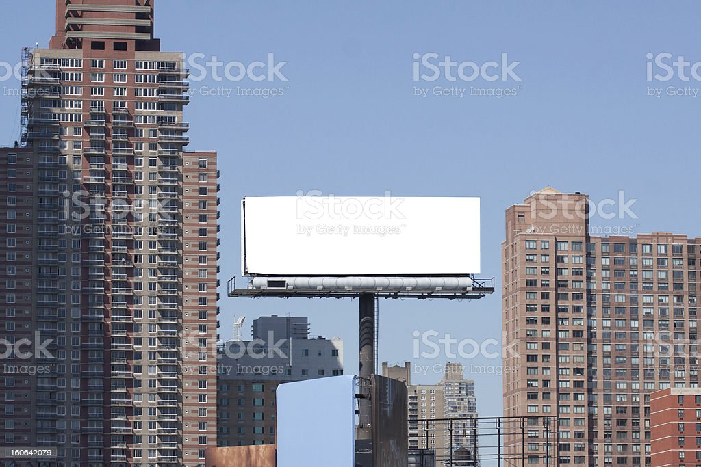 Billboard in big city. Two red bricks high buildings. royalty-free stock photo
