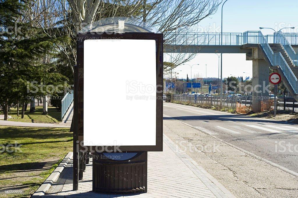 Billboard in sidewalk,bus stop royalty-free stock photo