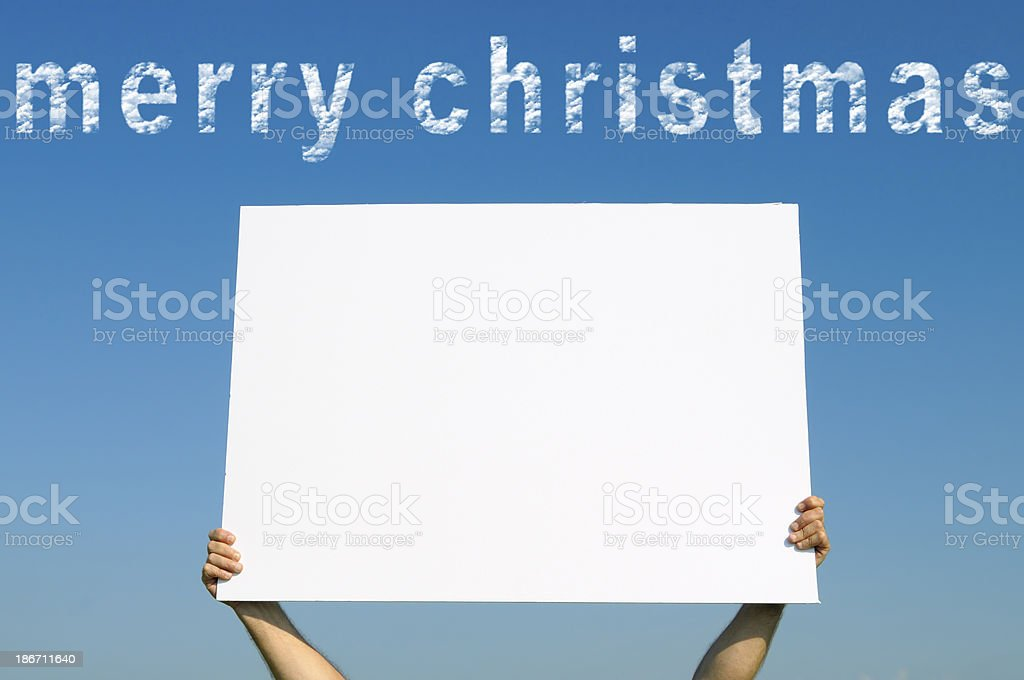 Billboard Merry Christmas Blue Sky royalty-free stock photo