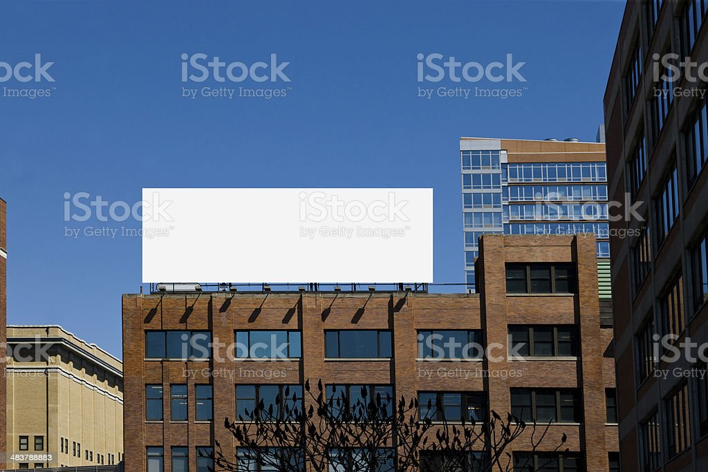 Billboard mounted on a commercial building stock photo