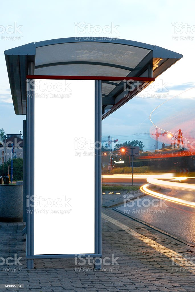 Billboard on a bus stop royalty-free stock photo