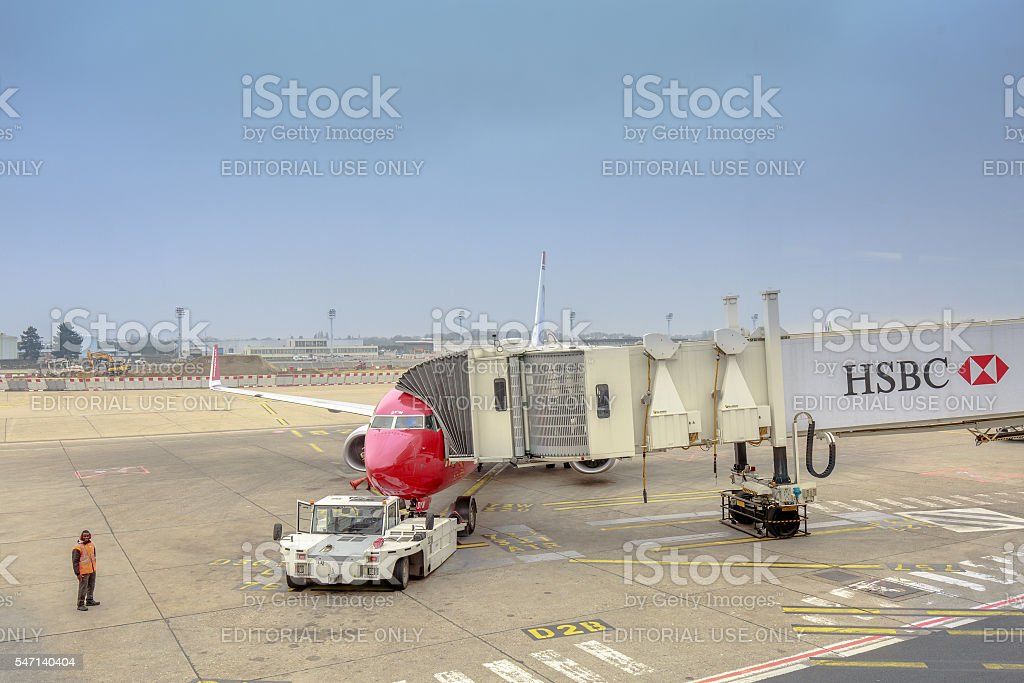 HSBC billboard on the gangway in airport of Orly stock photo