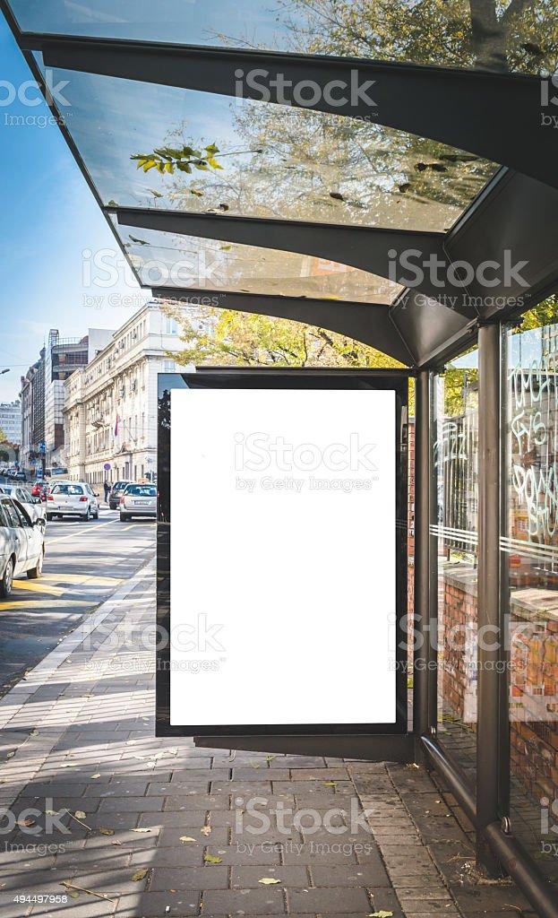 Billboard on the station stock photo