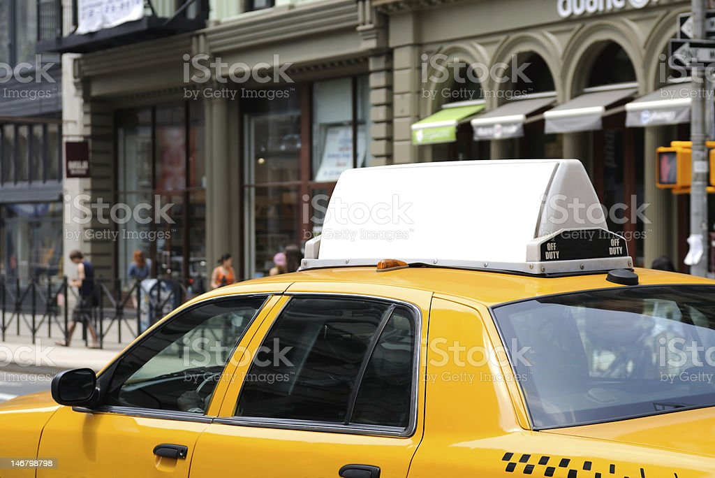Billboard on Yellow Taxi stock photo