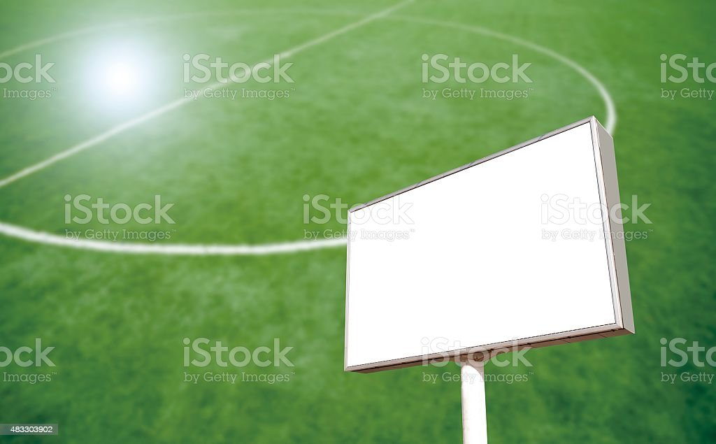 billboard - outdoor advertising construction in a football stadium stock photo