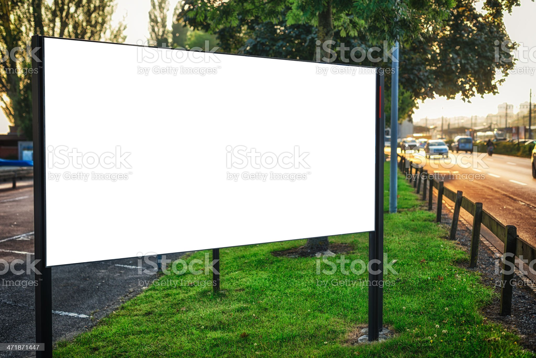 billboard sign at roadside early in the morning royalty-free stock photo