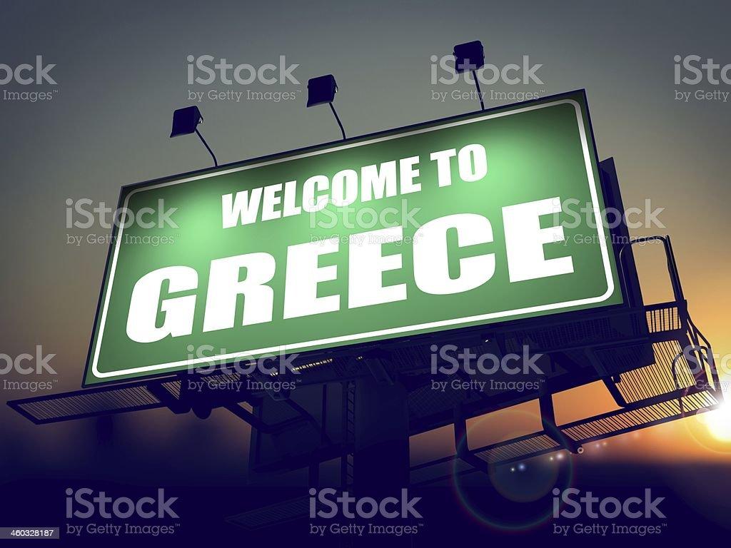 Billboard Welcome to Greece at Sunrise. stock photo