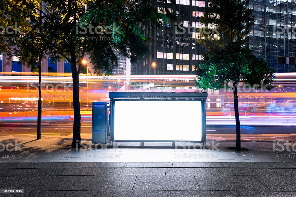 Billboard with Modern City Building Background stock photo